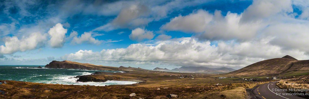 Panoramic image of the Dingle Peninsula, Ireland. Located on Ireland's Wild Atlantic Way.