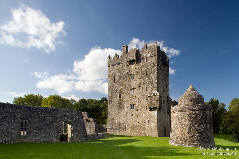 Aughnanure is the most impressive tower house, fortified residence, in Galway on a sunny day.