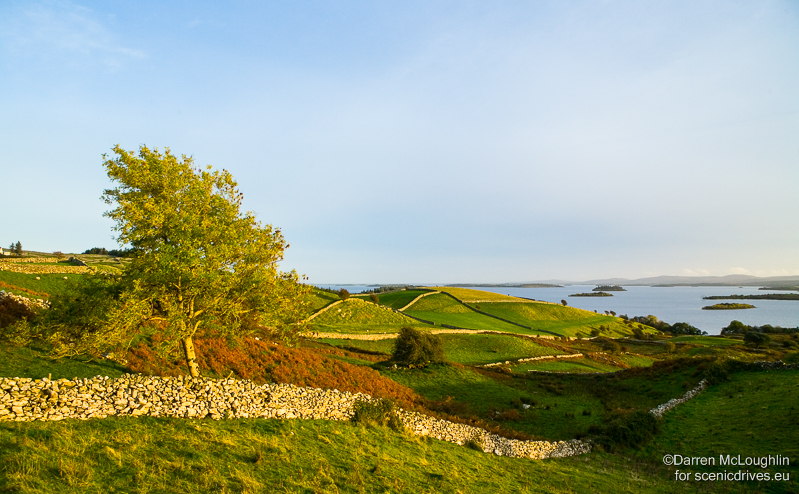 Stone walls, green fields and islands in Lough Corrib