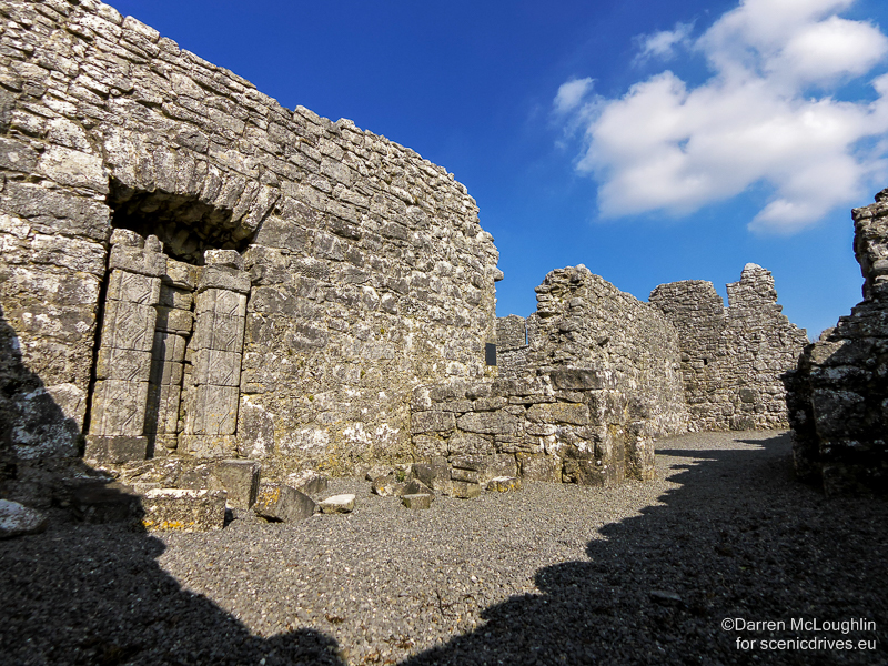 Stone ecclesiastical ruins in County Galway with blue sky